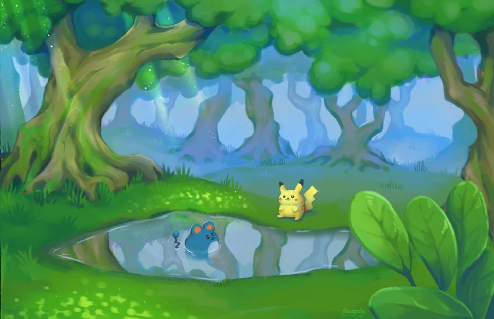 Fanart - 2017 Pikachu and Marill